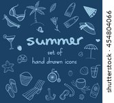 set of summer doodle icons.... | Shutterstock .eps vector #454804066