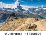 hikers walking on spectacular... | Shutterstock . vector #454808809