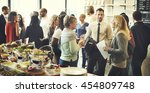 business meeting eating cheers... | Shutterstock . vector #454809748