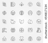 ecology icons set. vector thin... | Shutterstock .eps vector #454817134