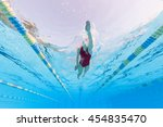 professional woman swimmer... | Shutterstock . vector #454835470