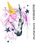 unicorn watercolor illustration.   Shutterstock . vector #454848598