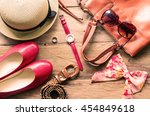 clothing for women  placed on a ... | Shutterstock . vector #454849618