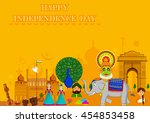 15th august  happy independence ... | Shutterstock .eps vector #454853458