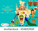 15th august  happy independence ... | Shutterstock .eps vector #454853500