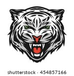 face of a white bengal tiger.... | Shutterstock . vector #454857166