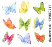 watercolor butterfly  a bright... | Shutterstock . vector #454857364