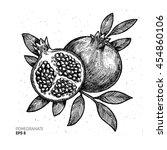 pomegranate illustration.... | Shutterstock .eps vector #454860106