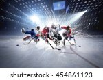 collage from hockey players in... | Shutterstock . vector #454861123