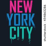 new york city typography on... | Shutterstock .eps vector #454863286