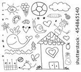 black icons children set | Shutterstock .eps vector #454865140