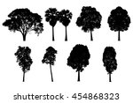 black tree silhouette on a... | Shutterstock . vector #454868323