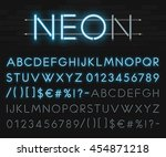 Realistic Neon Alphabet On A...