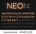realistic neon alphabet. bright ... | Shutterstock .eps vector #454871230
