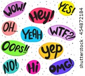 dialog words  wow  hey  yes  oh ... | Shutterstock .eps vector #454872184