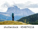 girl tourist with a backpack... | Shutterstock . vector #454874116