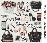 hand drawn graphic bags... | Shutterstock .eps vector #454882753