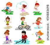 kids sport  isolated boy and... | Shutterstock . vector #454883698