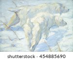 siberian dogs in the snow  by... | Shutterstock . vector #454885690