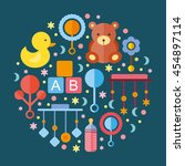 vector flat icons. children's... | Shutterstock .eps vector #454897114