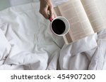 soft photo of woman on the bed... | Shutterstock . vector #454907200