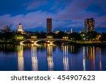 Stock photo the john w weeks bridge and charles river at night in cambridge massachusetts 454907623