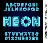 retro blue neon tube alphabet.... | Shutterstock .eps vector #454909840