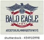 vintage textured font with...   Shutterstock .eps vector #454910998