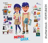 nerd and geek character design. ... | Shutterstock .eps vector #454918654
