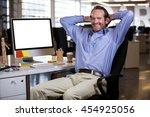 portrait of businessman sitting ... | Shutterstock . vector #454925056