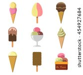 set of nine colored vector... | Shutterstock .eps vector #454927684