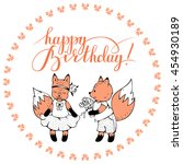postcard with foxes and hand... | Shutterstock .eps vector #454930189