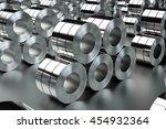 3d rendering roll of steel sheet   Shutterstock . vector #454932364