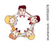 business man team embracing... | Shutterstock .eps vector #454936078