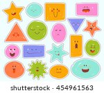 childrens cartoon faces with... | Shutterstock .eps vector #454961563