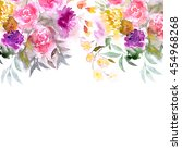 floral background. watercolor... | Shutterstock . vector #454968268