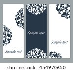 floral cards with rounded... | Shutterstock .eps vector #454970650