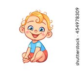cute happy smiling little baby... | Shutterstock .eps vector #454978309