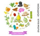 spa salon round design with... | Shutterstock .eps vector #454994344