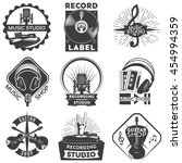 isolated black music shop label ...   Shutterstock .eps vector #454994359