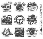car repair black emblem set... | Shutterstock .eps vector #454994968