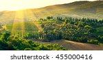 vineyard in the chianti region... | Shutterstock . vector #455000416