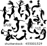 set of silhouettes of mermaids... | Shutterstock .eps vector #455001529