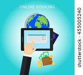 hand  tablet  passport  globe ... | Shutterstock .eps vector #455005240