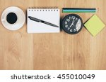 top view of wooden desktop with ... | Shutterstock . vector #455010049