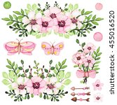 set of watercolor bouquets with ... | Shutterstock . vector #455016520