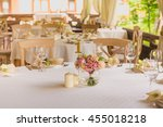 table setting at a luxury... | Shutterstock . vector #455018218