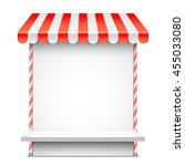 sale stand with red awning....   Shutterstock .eps vector #455033080
