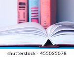 open book  stack of colorful... | Shutterstock . vector #455035078