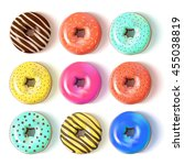 Glazed Colored Donuts Set 3d....